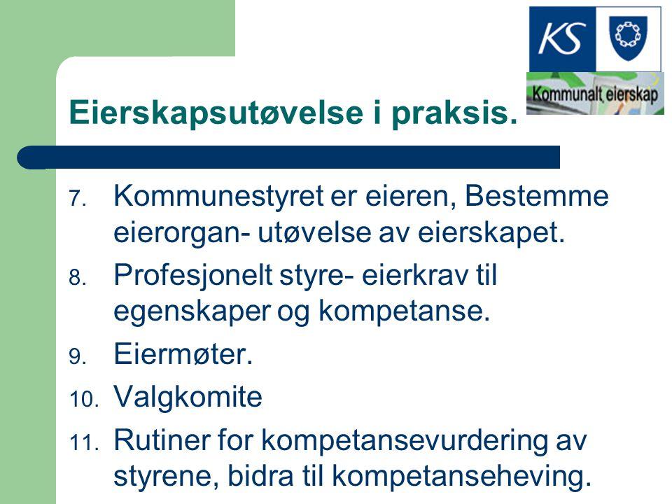 Eierskapsutøvelse i praksis. 7. Kommunestyret er eieren, Bestemme eierorgan- utøvelse av eierskapet. 8. Profesjonelt styre- eierkrav til egenskaper og