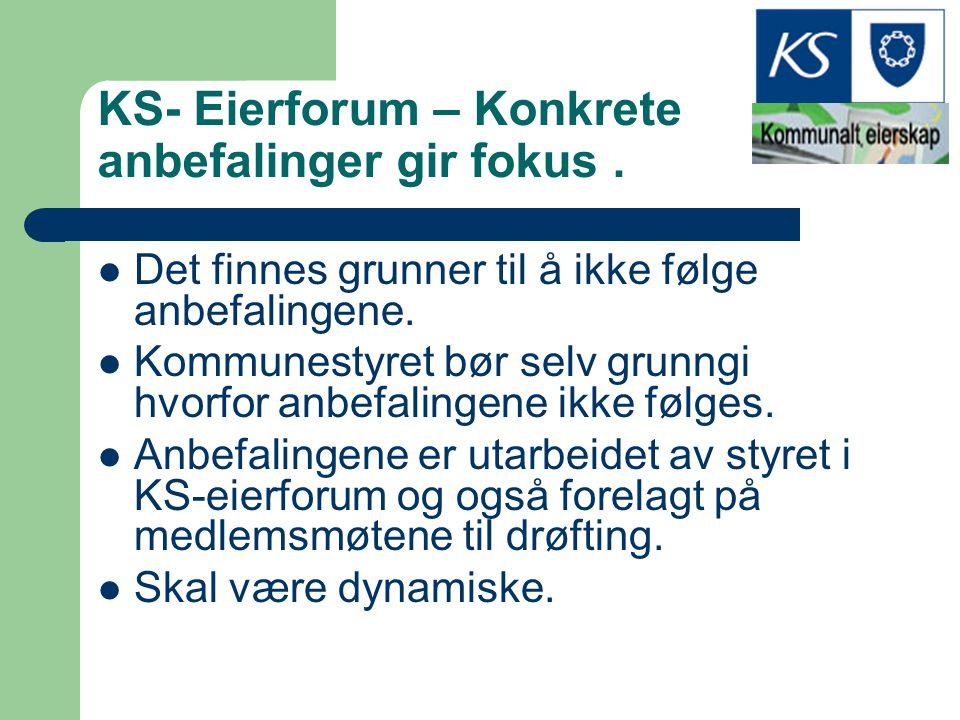 KS- Eierforum – Konkrete anbefalinger gir fokus. Det finnes grunner til å ikke følge anbefalingene. Kommunestyret bør selv grunngi hvorfor anbefalinge