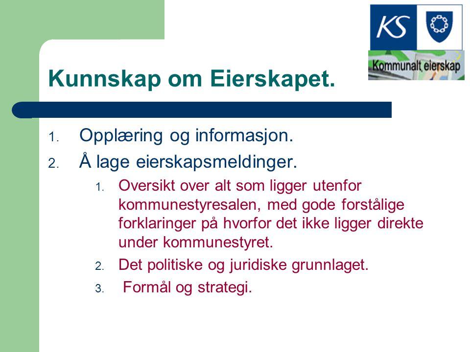 Kunnskap om Eierskapet. 1. Opplæring og informasjon. 2. Å lage eierskapsmeldinger. 1. Oversikt over alt som ligger utenfor kommunestyresalen, med gode