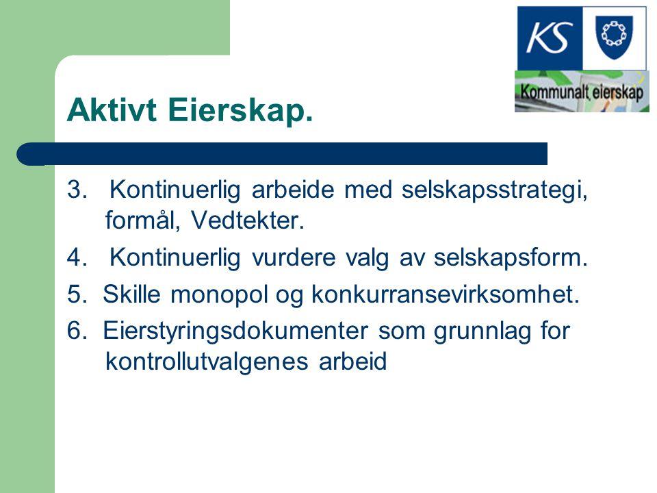 Aktivt Eierskap. 3. Kontinuerlig arbeide med selskapsstrategi, formål, Vedtekter. 4. Kontinuerlig vurdere valg av selskapsform. 5. Skille monopol og k