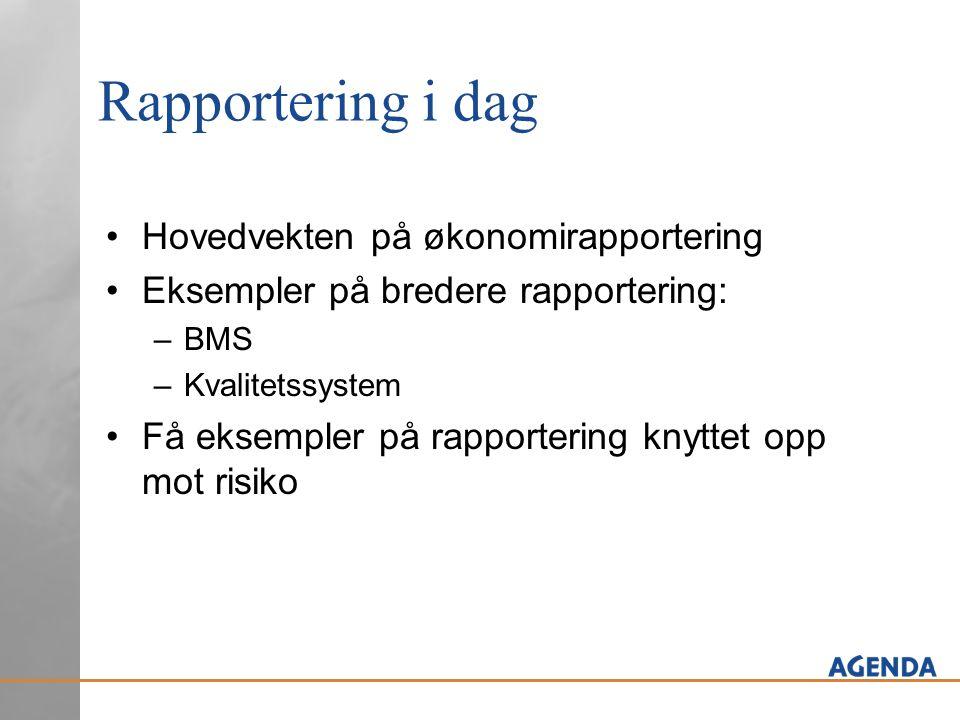 Rapportering i dag Hovedvekten på økonomirapportering Eksempler på bredere rapportering: –BMS –Kvalitetssystem Få eksempler på rapportering knyttet op