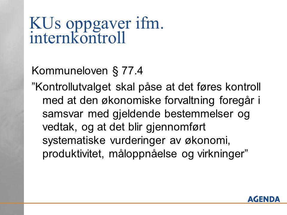 """KUs oppgaver ifm. internkontroll Kommuneloven § 77.4 """"Kontrollutvalget skal påse at det føres kontroll med at den økonomiske forvaltning foregår i sam"""