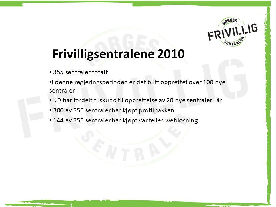 Frivilligsentralene 2010 355 sentraler totalt I denne regjeringsperioden er det blitt opprettet over 100 nye sentraler KD har fordelt tilskudd til opp