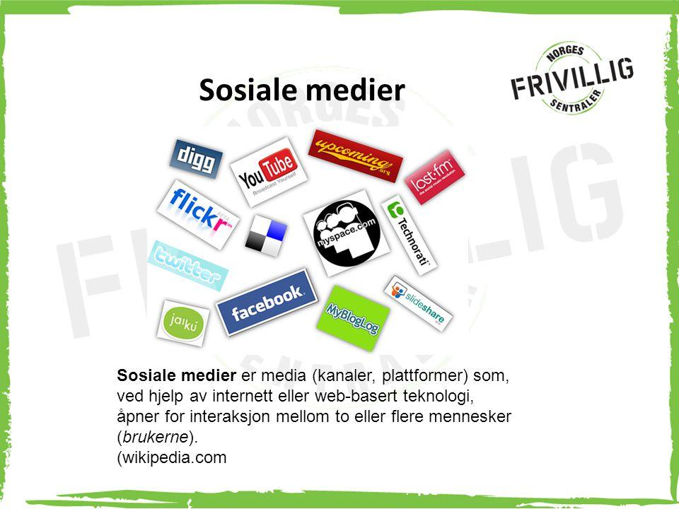 Sosiale medier Sosiale medier er media (kanaler, plattformer) som, ved hjelp av internett eller web-basert teknologi, åpner for interaksjon mellom to