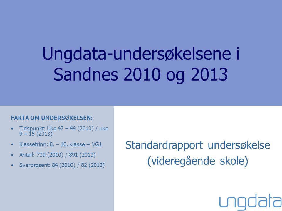 Ungdata-undersøkelsene i Sandnes 2010 og 2013 Standardrapport undersøkelse (videregående skole) FAKTA OM UNDERSØKELSEN: Tidspunkt: Uke 47 – 49 (2010) / uke 9 – 15 (2013) Klassetrinn: 8.