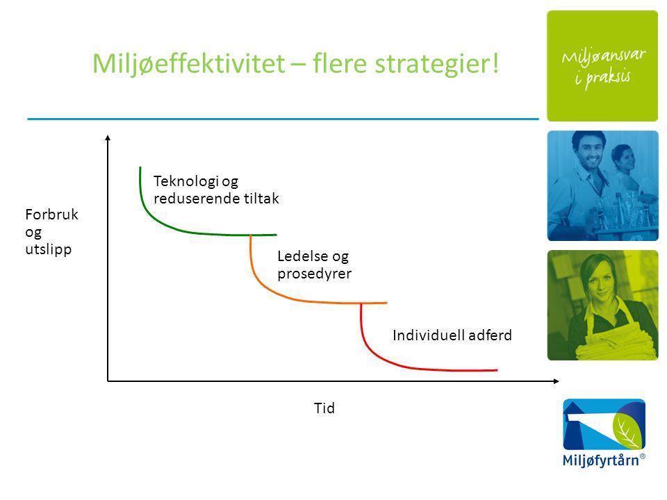 Forbruk og utslipp Tid Teknologi og reduserende tiltak Ledelse og prosedyrer Individuell adferd Miljøeffektivitet – flere strategier!