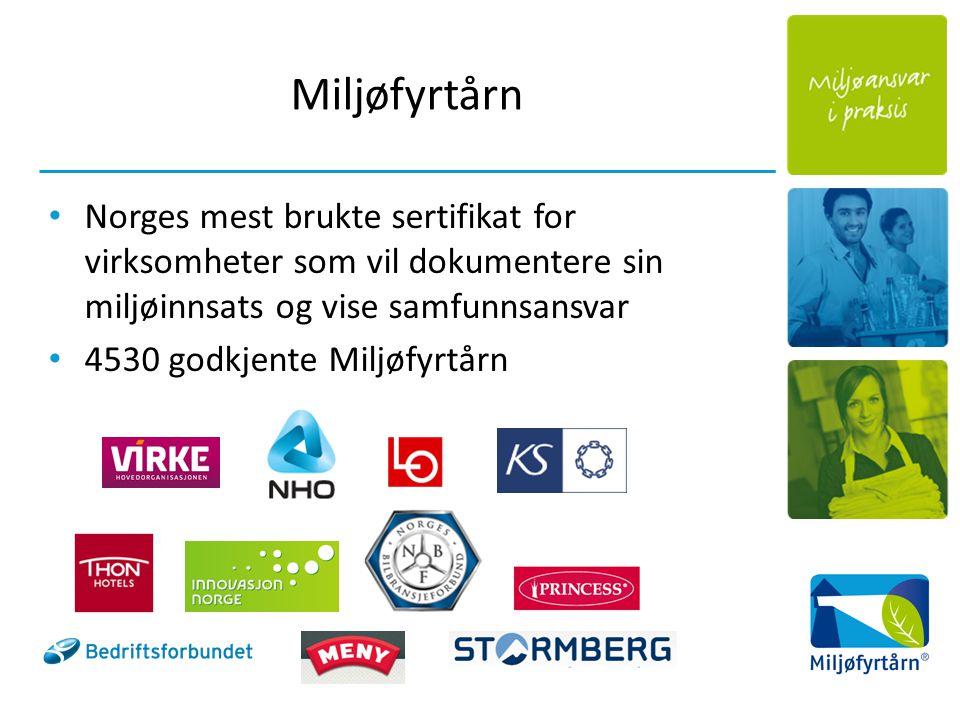 Miljøfyrtårn Norges mest brukte sertifikat for virksomheter som vil dokumentere sin miljøinnsats og vise samfunnsansvar 4530 godkjente Miljøfyrtårn