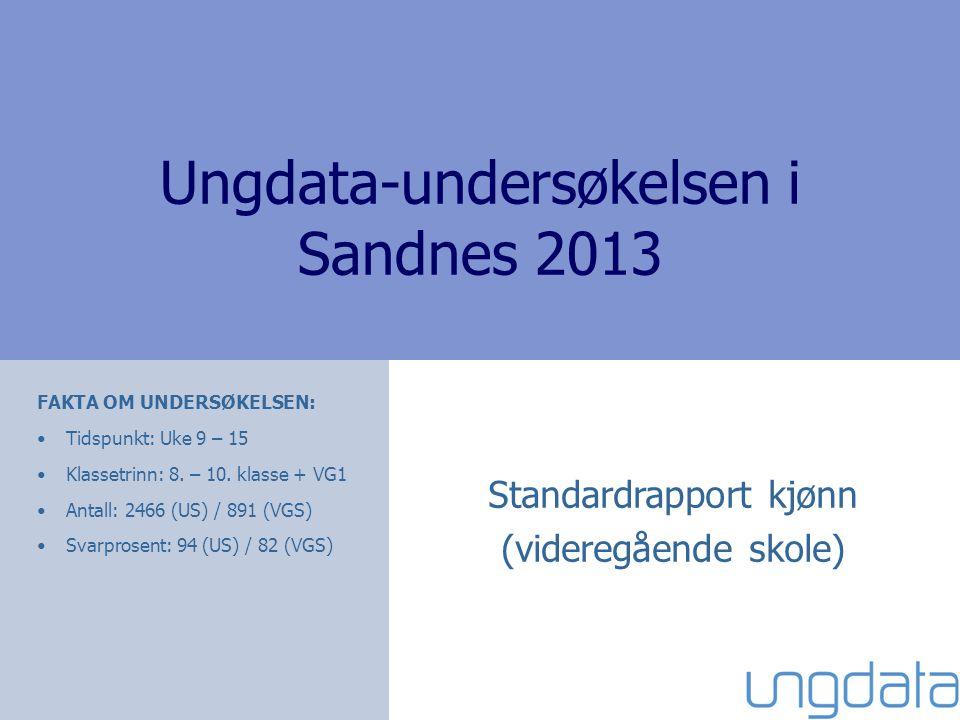 Ungdata-undersøkelsen i Sandnes 2013 Standardrapport kjønn (videregående skole) FAKTA OM UNDERSØKELSEN: Tidspunkt: Uke 9 – 15 Klassetrinn: 8.