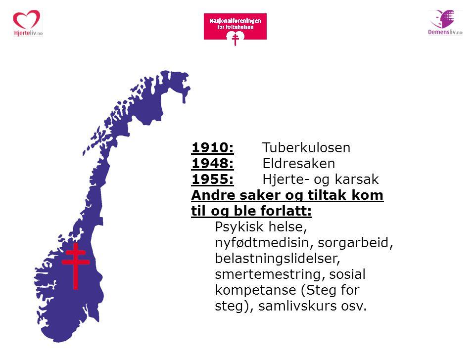 1910: Tuberkulosen 1948: Eldresaken 1955: Hjerte- og karsak Andre saker og tiltak kom til og ble forlatt: Psykisk helse, nyfødtmedisin, sorgarbeid, be