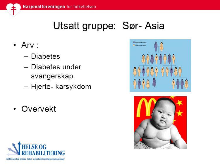 Utsatt gruppe: Sør- Asia Arv : –Diabetes –Diabetes under svangerskap –Hjerte- karsykdom Overvekt