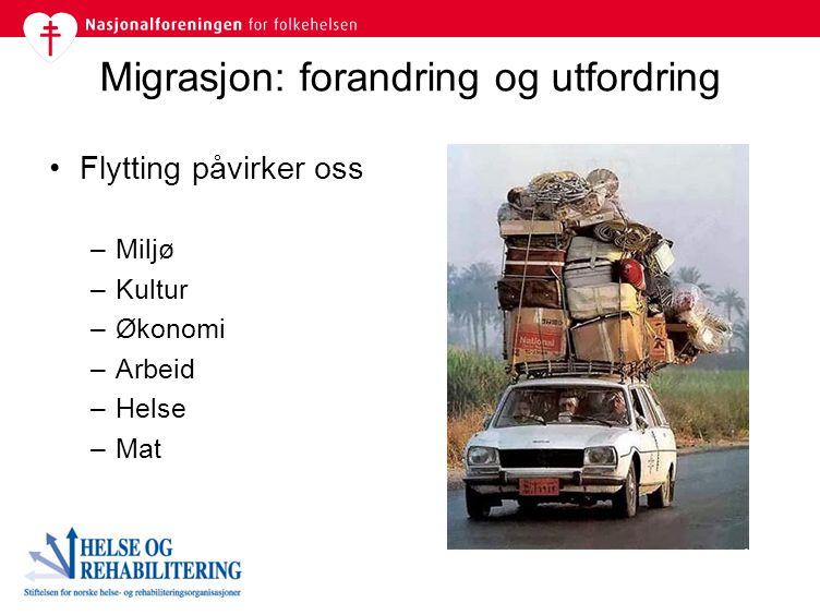 Migrasjon: forandring og utfordring Flytting påvirker oss –Miljø –Kultur –Økonomi –Arbeid –Helse –Mat
