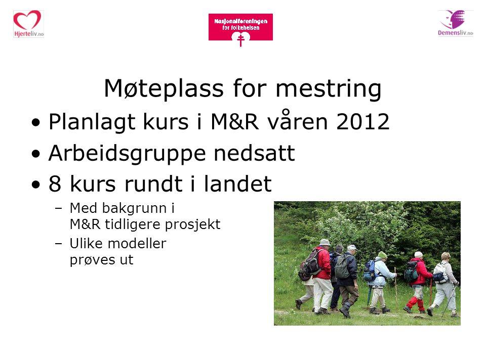 Møteplass for mestring Planlagt kurs i M&R våren 2012 Arbeidsgruppe nedsatt 8 kurs rundt i landet –Med bakgrunn i M&R tidligere prosjekt –Ulike modell