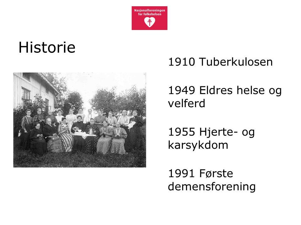 Historie 1910 Tuberkulosen 1949 Eldres helse og velferd 1955 Hjerte- og karsykdom 1991 Første demensforening