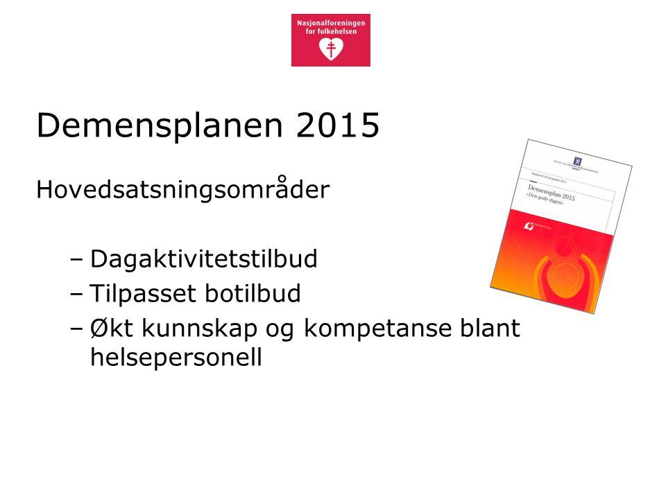 Demensplanen 2015 Hovedsatsningsområder –Dagaktivitetstilbud –Tilpasset botilbud –Økt kunnskap og kompetanse blant helsepersonell