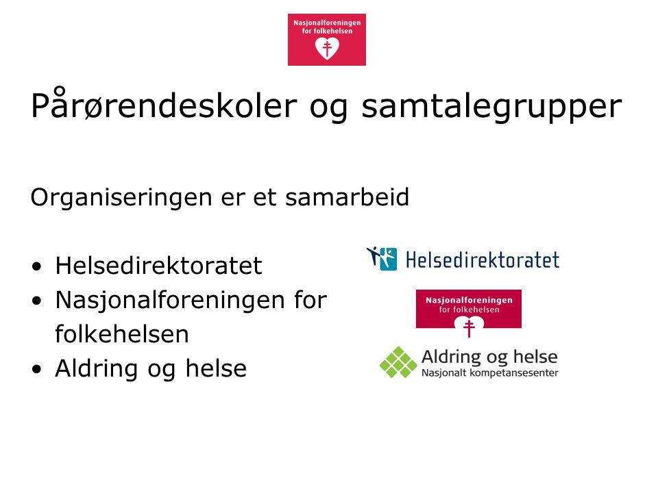 Organiseringen er et samarbeid Helsedirektoratet Nasjonalforeningen for folkehelsen Aldring og helse Pårørendeskoler og samtalegrupper