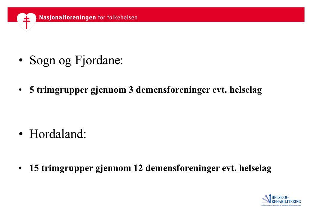 Sogn og Fjordane: 5 trimgrupper gjennom 3 demensforeninger evt.