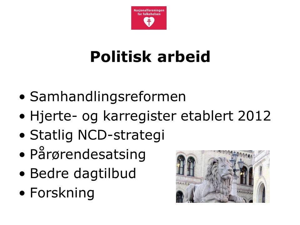 Politisk arbeid Samhandlingsreformen Hjerte- og karregister etablert 2012 Statlig NCD-strategi Pårørendesatsing Bedre dagtilbud Forskning
