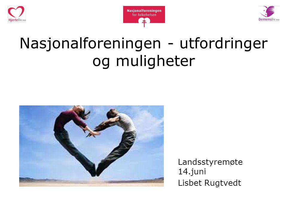 Nasjonalforeningen - utfordringer og muligheter Landsstyremøte 14.juni Lisbet Rugtvedt