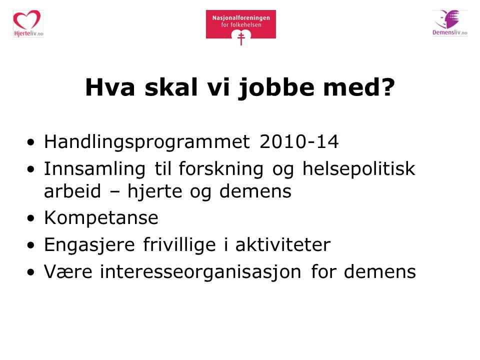 Hva skal vi jobbe med? Handlingsprogrammet 2010-14 Innsamling til forskning og helsepolitisk arbeid – hjerte og demens Kompetanse Engasjere frivillige