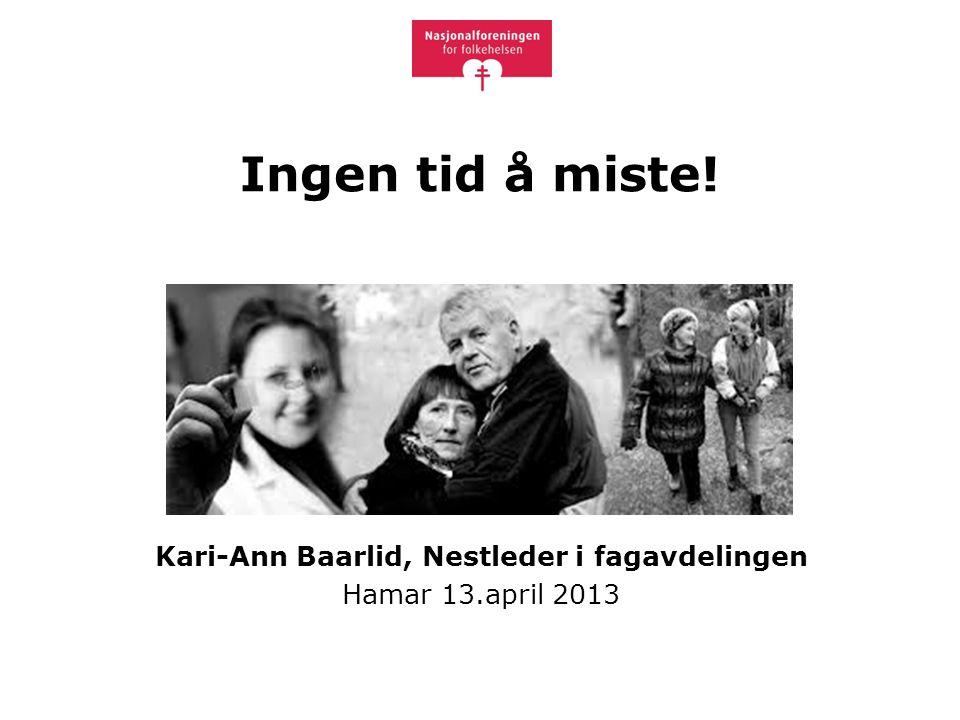 Ingen tid å miste! Kari-Ann Baarlid, Nestleder i fagavdelingen Hamar 13.april 2013