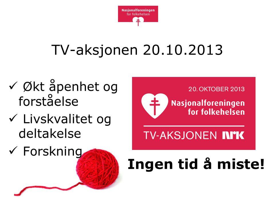 TV-aksjonen 20.10.2013 Økt åpenhet og forståelse Livskvalitet og deltakelse Forskning Ingen tid å miste!
