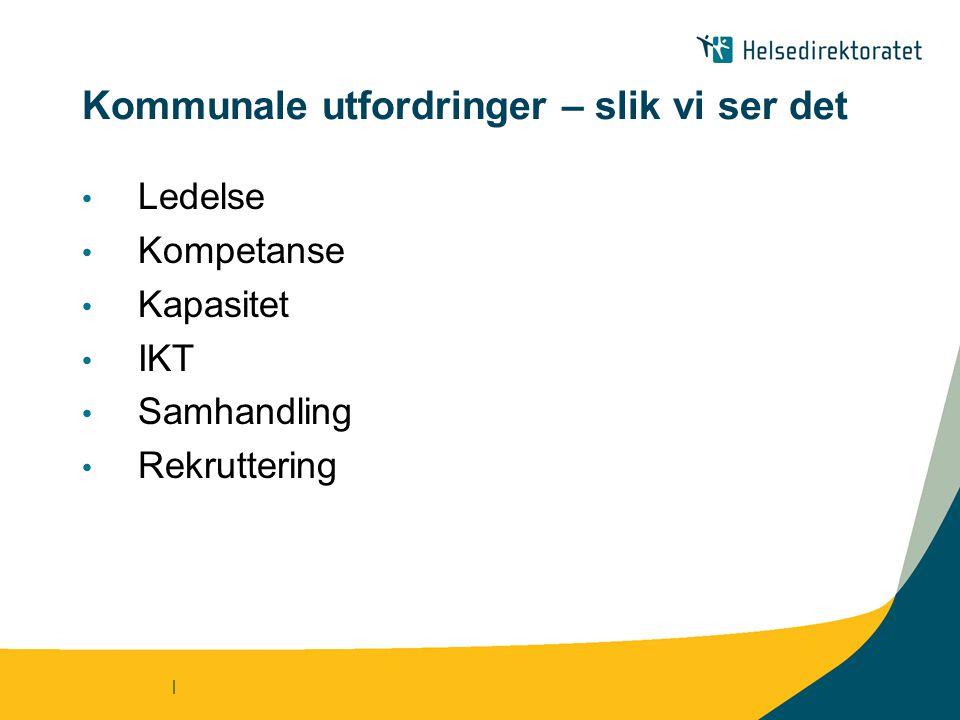 | Kommunale utfordringer – slik vi ser det Ledelse Kompetanse Kapasitet IKT Samhandling Rekruttering