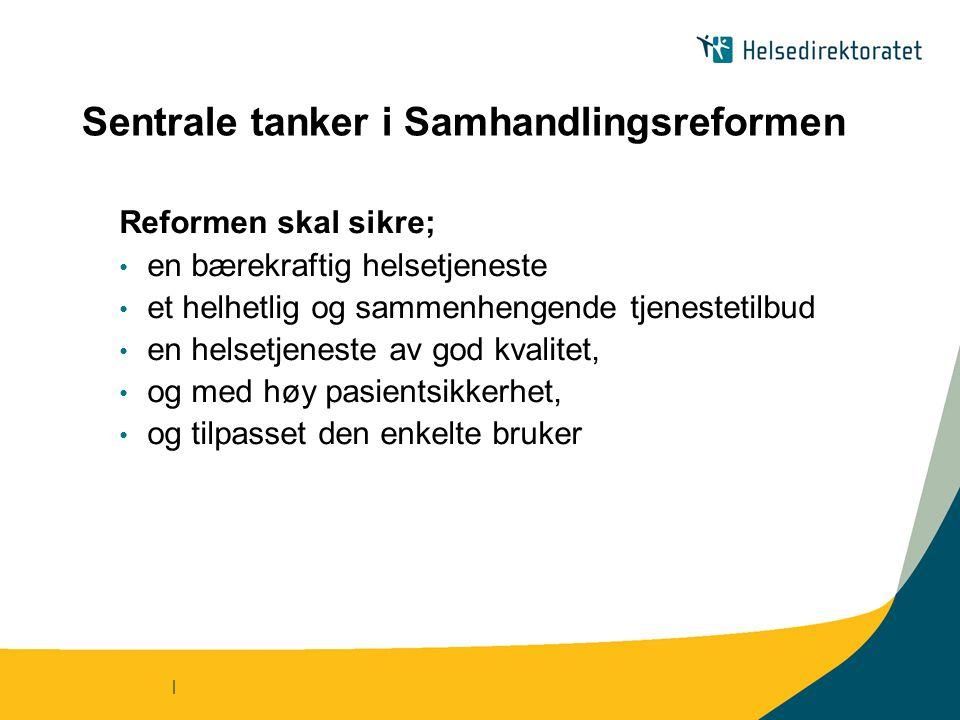 | Sentrale tanker i Samhandlingsreformen Reformen skal sikre; en bærekraftig helsetjeneste et helhetlig og sammenhengende tjenestetilbud en helsetjene