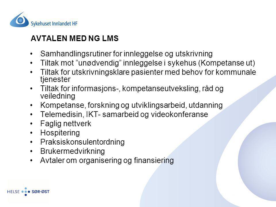 """AVTALEN MED NG LMS Samhandlingsrutiner for innleggelse og utskrivning Tiltak mot """"unødvendig"""" innleggelse i sykehus (Kompetanse ut) Tiltak for utskriv"""