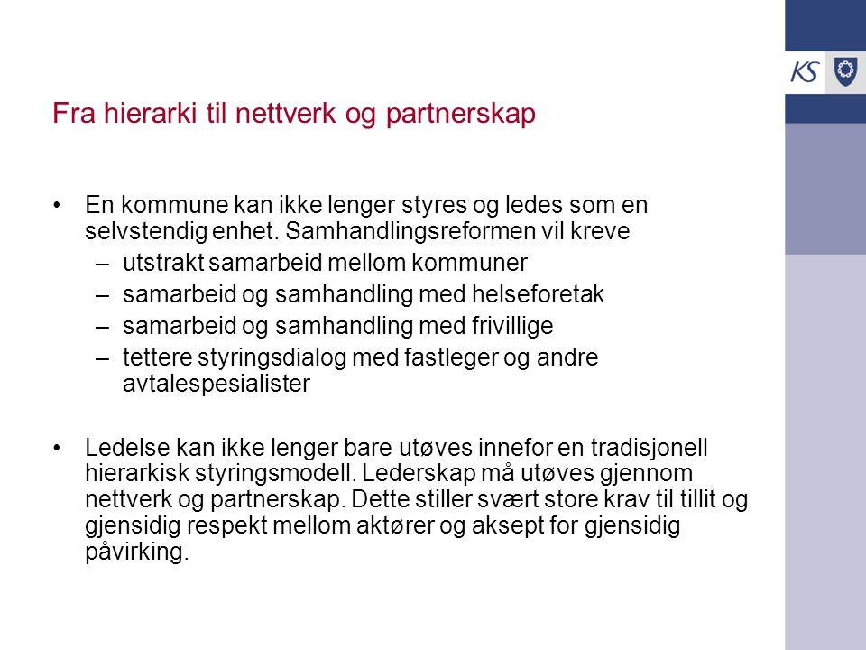 Fra hierarki til nettverk og partnerskap En kommune kan ikke lenger styres og ledes som en selvstendig enhet. Samhandlingsreformen vil kreve –utstrakt