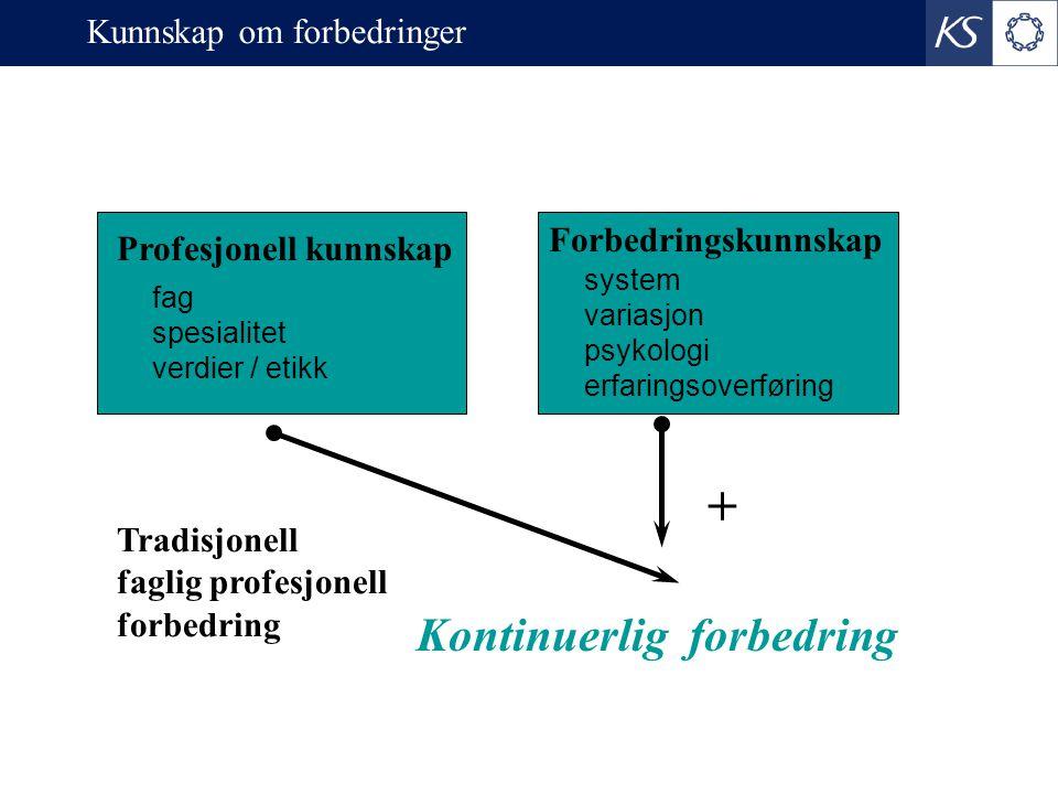 + Profesjonell kunnskap Forbedringskunnskap fag spesialitet verdier / etikk system variasjon psykologi erfaringsoverføring Kontinuerlig forbedring Tradisjonell faglig profesjonell forbedring Kunnskap om forbedringer
