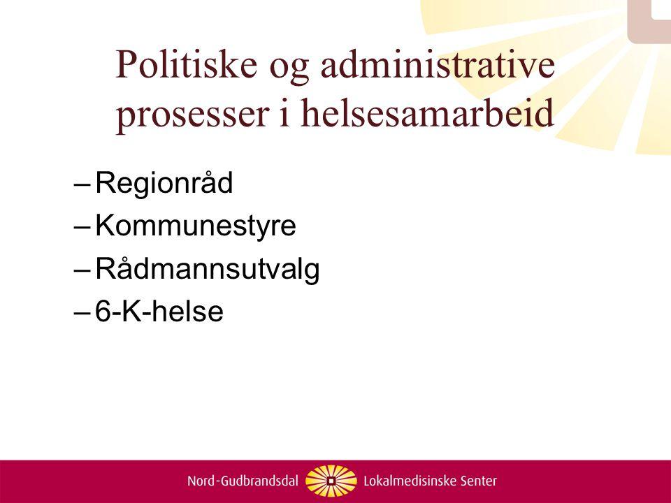 Politiske og administrative prosesser i helsesamarbeid –Regionråd –Kommunestyre –Rådmannsutvalg –6-K-helse