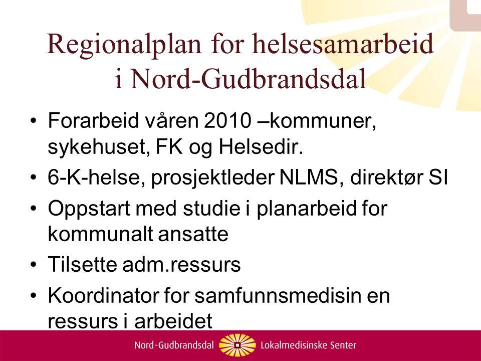 Regionalplan for helsesamarbeid i Nord-Gudbrandsdal Forarbeid våren 2010 –kommuner, sykehuset, FK og Helsedir. 6-K-helse, prosjektleder NLMS, direktør