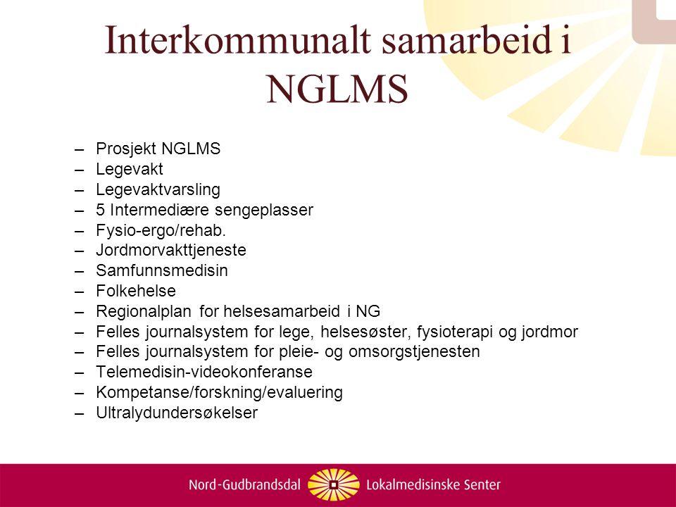 Interkommunalt samarbeid i NGLMS –Prosjekt NGLMS –Legevakt –Legevaktvarsling –5 Intermediære sengeplasser –Fysio-ergo/rehab. –Jordmorvakttjeneste –Sam