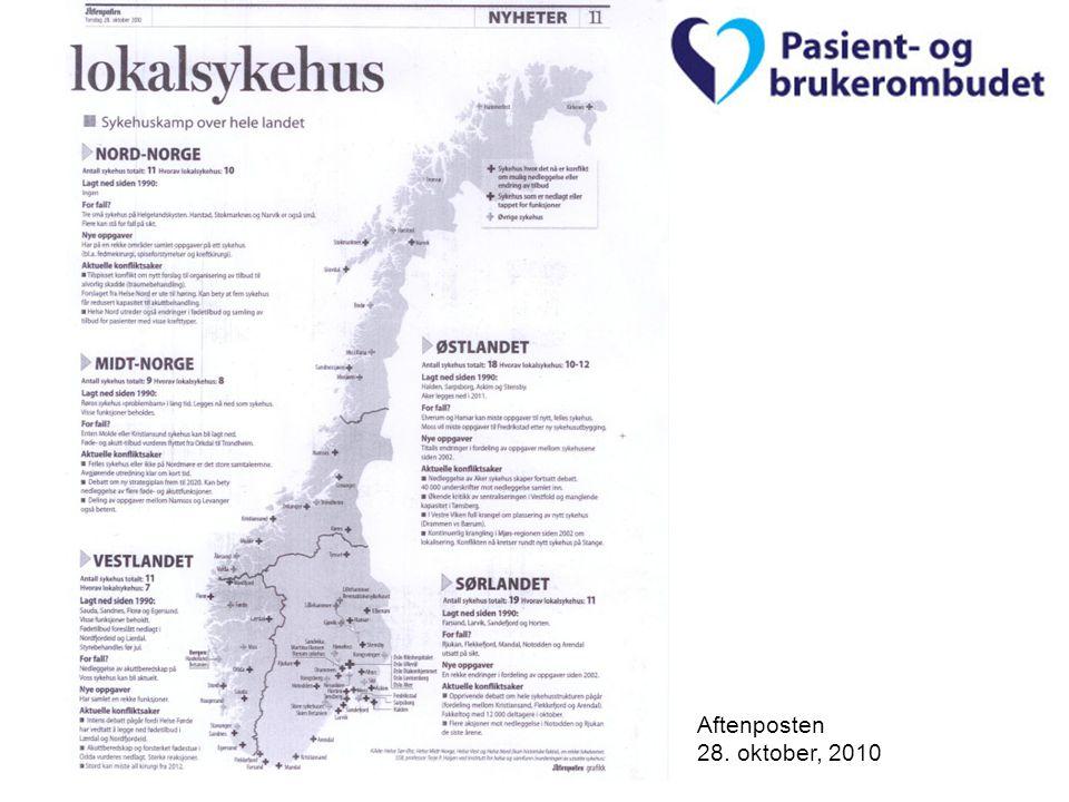 Pasient- og brukerombudet i Hordaland Aftenposten 28. oktober, 2010