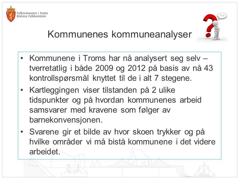Kommunenes kommuneanalyser Kommunene i Troms har nå analysert seg selv – tverretatlig i både 2009 og 2012 på basis av nå 43 kontrollspørsmål knyttet til de i alt 7 stegene.