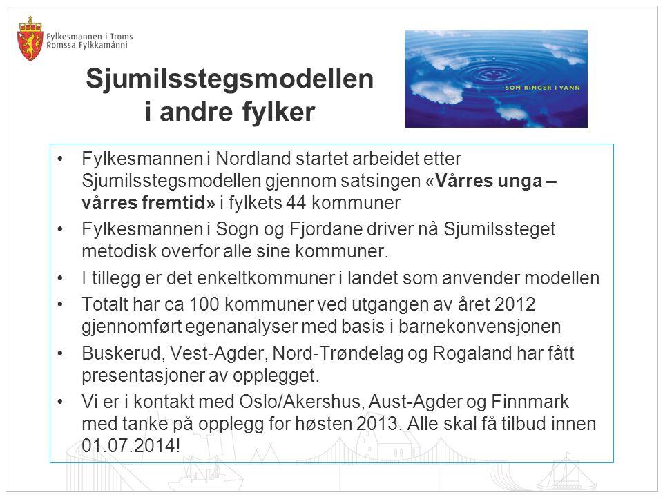 Sjumilsstegsmodellen i andre fylker Fylkesmannen i Nordland startet arbeidet etter Sjumilsstegsmodellen gjennom satsingen «Vårres unga – vårres fremti