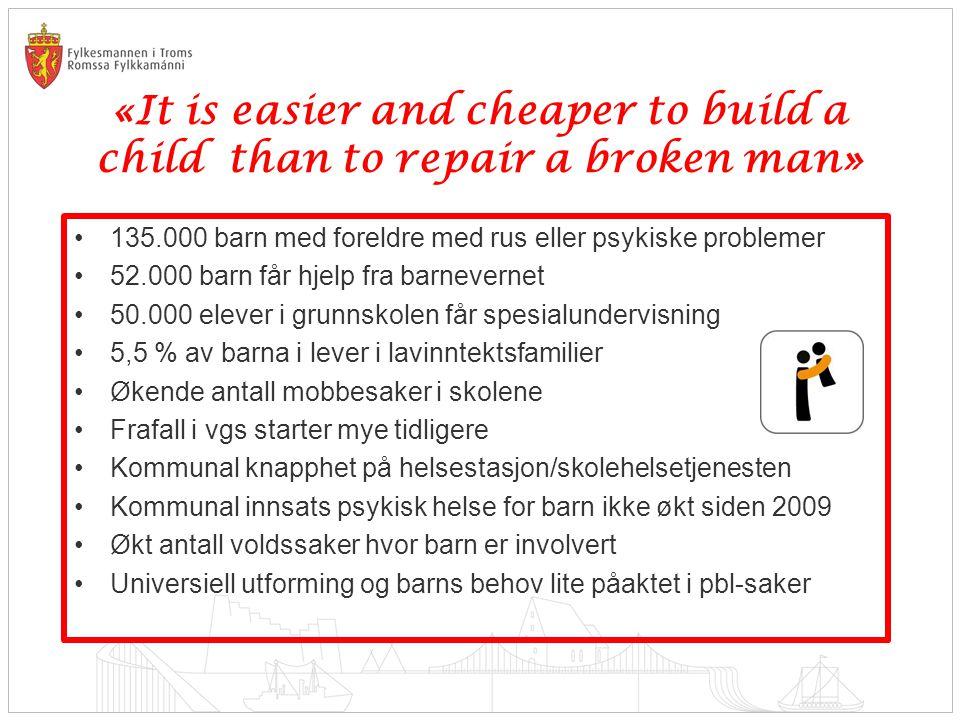 «It is easier and cheaper to build a child than to repair a broken man» 135.000 barn med foreldre med rus eller psykiske problemer 52.000 barn får hje