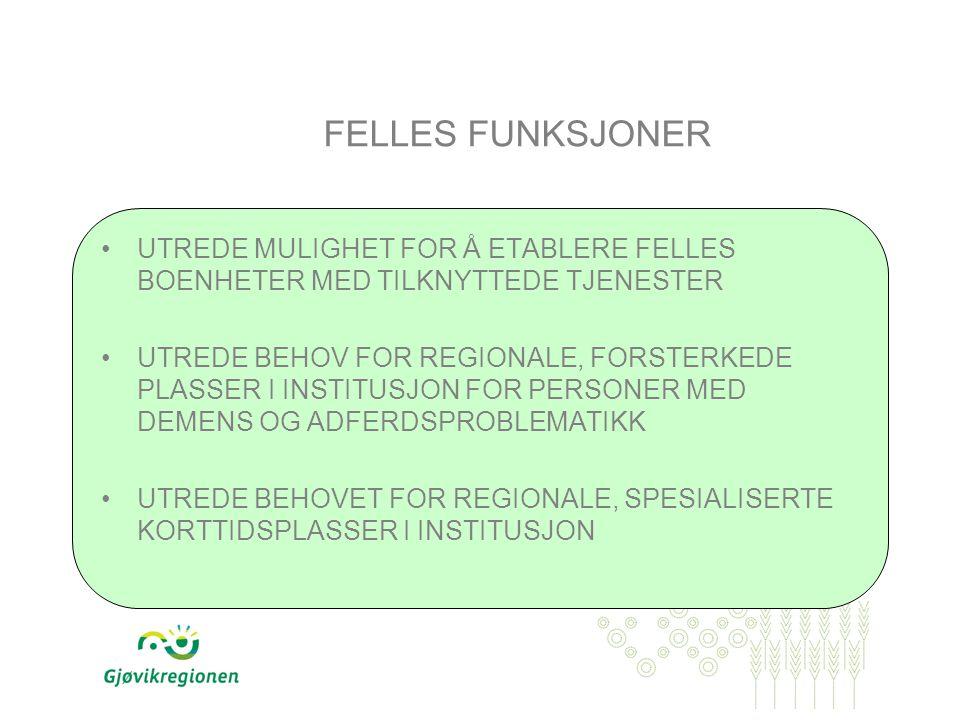 FELLES FUNKSJONER UTREDE MULIGHET FOR Å ETABLERE FELLES BOENHETER MED TILKNYTTEDE TJENESTER UTREDE BEHOV FOR REGIONALE, FORSTERKEDE PLASSER I INSTITUSJON FOR PERSONER MED DEMENS OG ADFERDSPROBLEMATIKK UTREDE BEHOVET FOR REGIONALE, SPESIALISERTE KORTTIDSPLASSER I INSTITUSJON