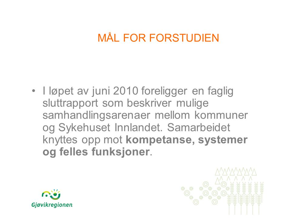 MÅL FOR FORSTUDIEN I løpet av juni 2010 foreligger en faglig sluttrapport som beskriver mulige samhandlingsarenaer mellom kommuner og Sykehuset Innlandet.