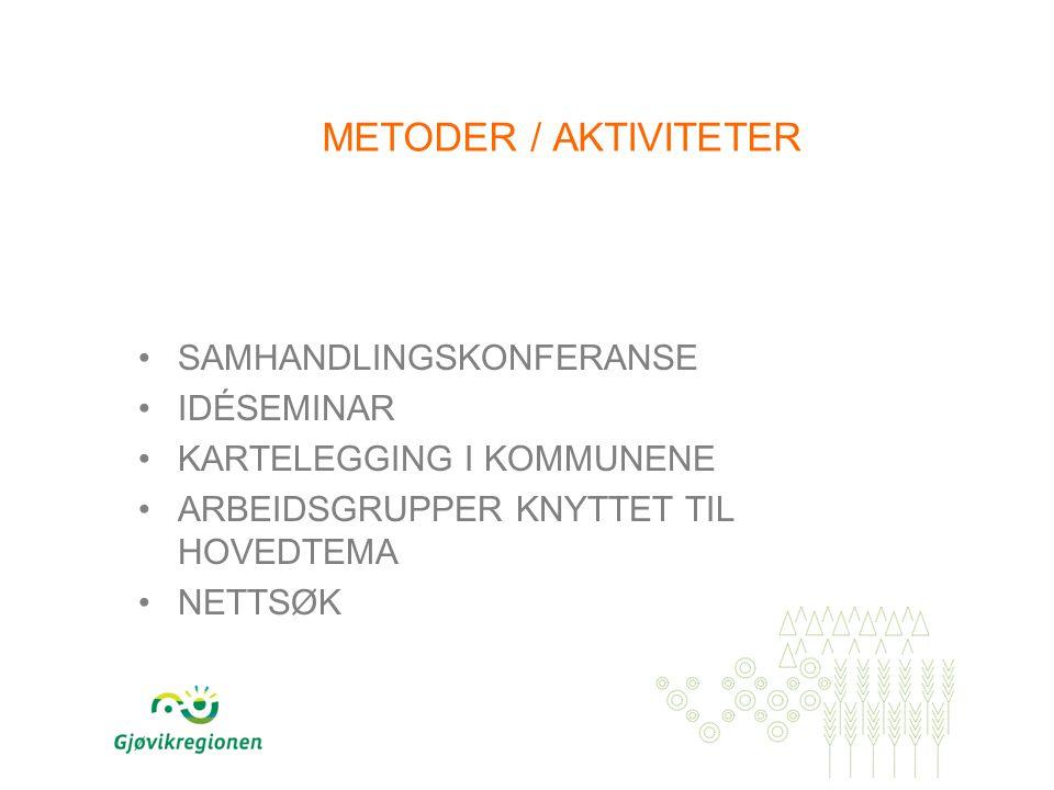 METODER / AKTIVITETER SAMHANDLINGSKONFERANSE IDÉSEMINAR KARTELEGGING I KOMMUNENE ARBEIDSGRUPPER KNYTTET TIL HOVEDTEMA NETTSØK