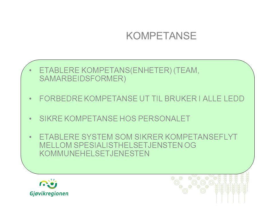 KOMPETANSE ETABLERE KOMPETANS(ENHETER) (TEAM, SAMARBEIDSFORMER) FORBEDRE KOMPETANSE UT TIL BRUKER I ALLE LEDD SIKRE KOMPETANSE HOS PERSONALET ETABLERE SYSTEM SOM SIKRER KOMPETANSEFLYT MELLOM SPESIALISTHELSETJENSTEN OG KOMMUNEHELSETJENESTEN
