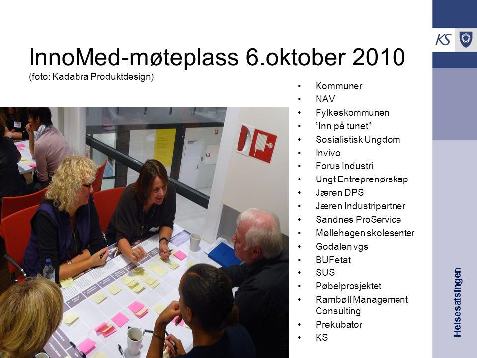 "InnoMed-møteplass 6.oktober 2010 (foto: Kadabra Produktdesign) Kommuner NAV Fylkeskommunen ""Inn på tunet"" Sosialistisk Ungdom Invivo Forus Industri Un"