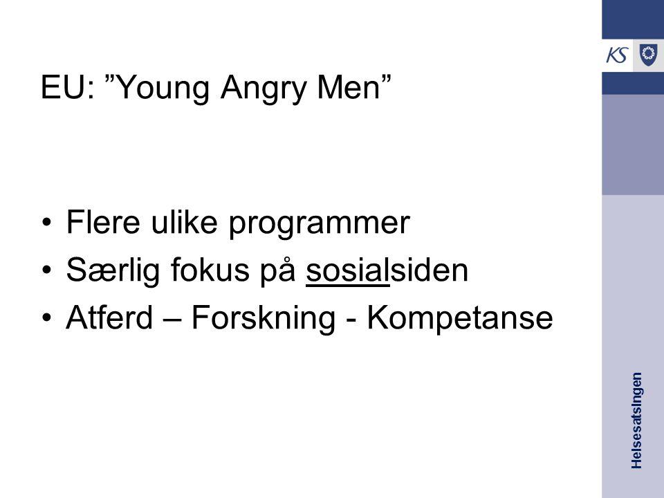 """Helsesatsingen EU: """"Young Angry Men"""" Flere ulike programmer Særlig fokus på sosialsiden Atferd – Forskning - Kompetanse"""