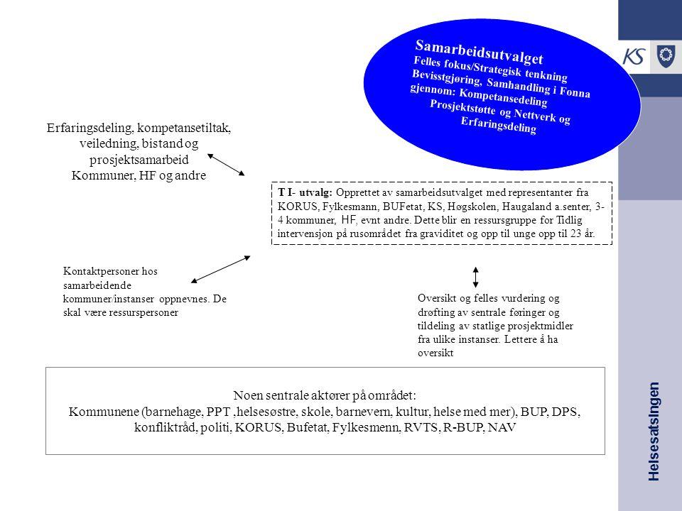 Helsesatsingen FONNA- MODELLEN Samarbeidsutvalget Felles fokus/Strategisk tenkning Bevisstgjøring, Samhandling i Fonna gjennom: Kompetansedeling Prosj