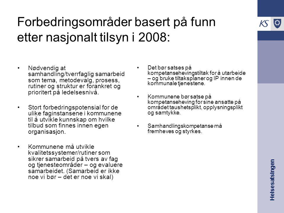 Helsesatsingen Forbedringsområder basert på funn etter nasjonalt tilsyn i 2008: Nødvendig at samhandling/tverrfaglig samarbeid som tema, metodevalg, p