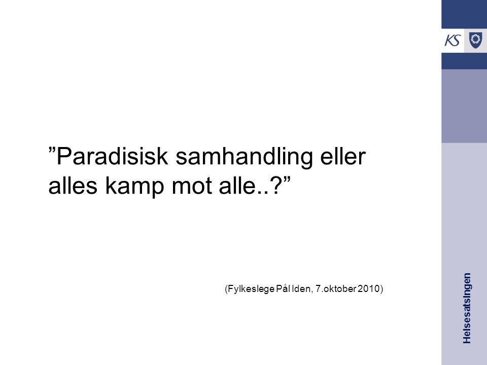 """Helsesatsingen """"Paradisisk samhandling eller alles kamp mot alle..?"""" (Fylkeslege Pål Iden, 7.oktober 2010)"""