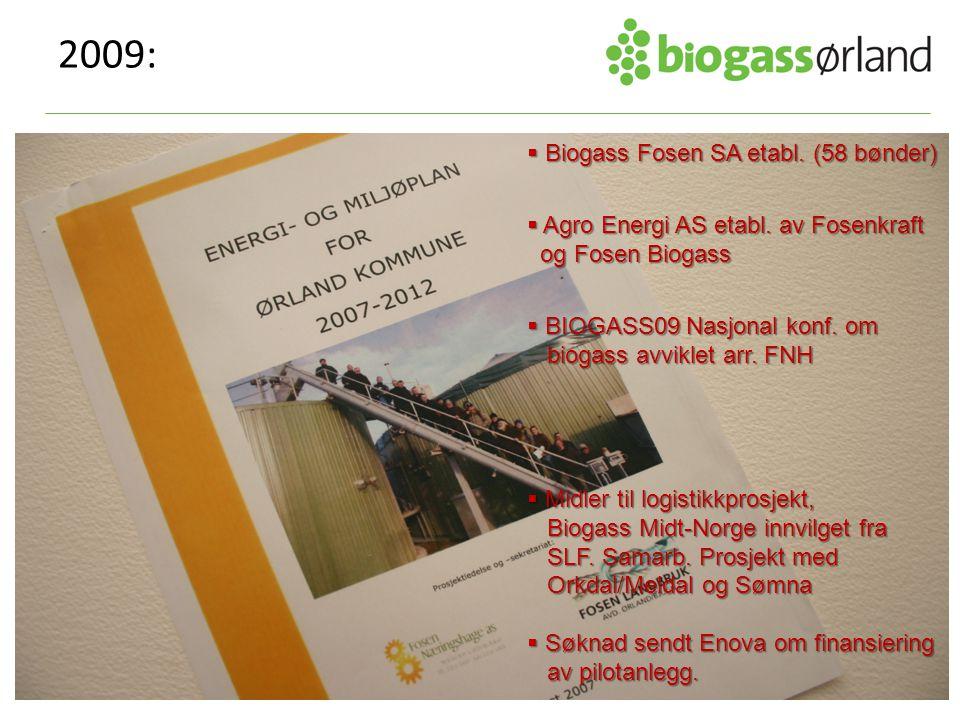 2009:  Biogass Fosen SA etabl. (58 bønder)  Agro Energi AS etabl. av Fosenkraft og Fosen Biogass og Fosen Biogass  BIOGASS09 Nasjonal konf. om biog