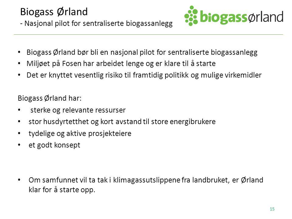 Biogass Ørland bør bli en nasjonal pilot for sentraliserte biogassanlegg Miljøet på Fosen har arbeidet lenge og er klare til å starte Det er knyttet v