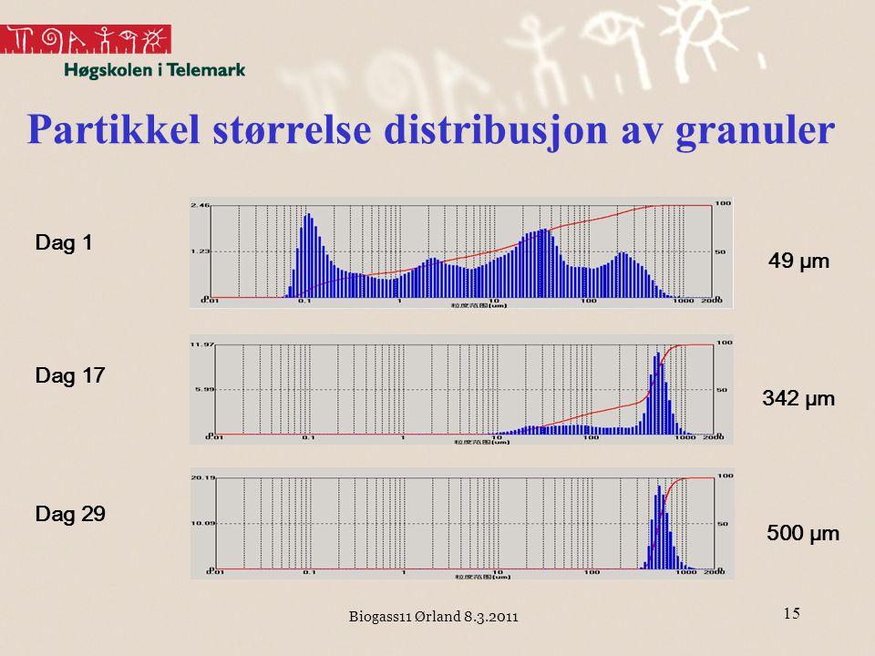 Biogass11 Ørland 8.3.2011 15 Dag 1 Dag 17 Dag 29 49 μm 342 μm 500 μm Partikkel størrelse distribusjon av granuler