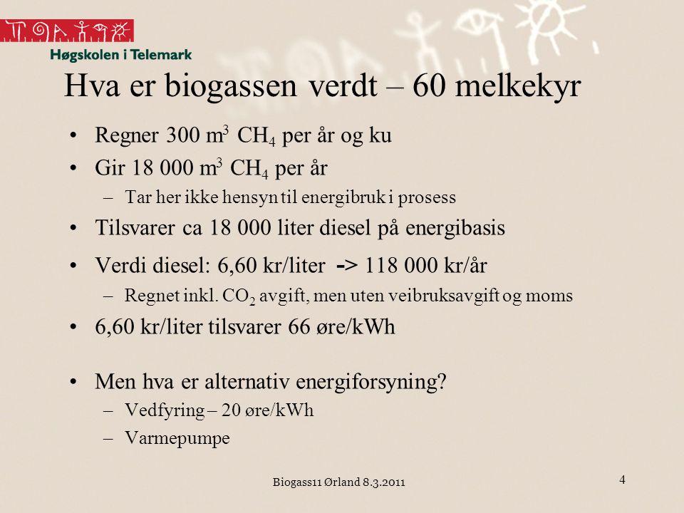 Biogass11 Ørland 8.3.2011 Hva er biogassen verdt – 60 melkekyr Regner 300 m 3 CH 4 per år og ku Gir 18 000 m 3 CH 4 per år –Tar her ikke hensyn til en